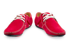 Pair leather red color male moccasins Stock Images