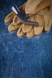 Pair of leather safety gloves with metal claw Royalty Free Stock Photo