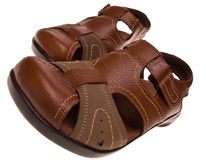 Pair of leather sandals Stock Photos