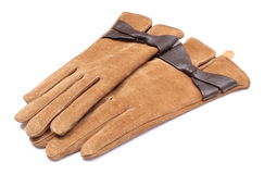 Pair of leather suede gloves for woman. White background Royalty Free Stock Photo