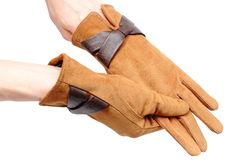 Pair of leather suede gloves for woman. White background Stock Photo