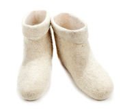 Pair light woolly lock footwear Stock Images