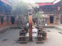 Pair of Lion at Bhaktapur stock photo