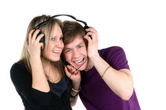 Pair listens music Stock Photos