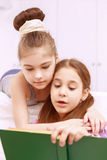 Pair of little girls reading book Royalty Free Stock Images