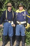 Pair of living history participants posing as soldiers, CA Stock Photo