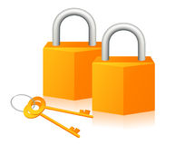 Pair of lock. Illustration, AI file included Stock Images