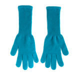 Pair of long blue woolen gloves Stock Image