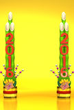 2016 Pair Of Long Kadomatsu On Gold Text Space Royalty Free Stock Photos