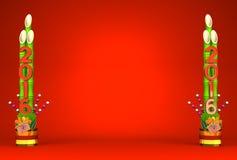 2016 Pair Of Long Kadomatsu On Red Text Space Stock Photo