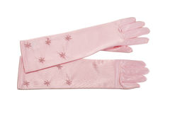 Pair of long silk gloves Stock Images
