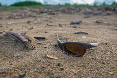 A pair of lost sunglasses on a deserted beach Royalty Free Stock Photography