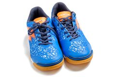 The pair Lotto futsal boots isolated on white. royalty free stock photos