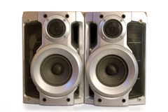 Pair of loud speakers. With reflection on white background royalty free stock photo