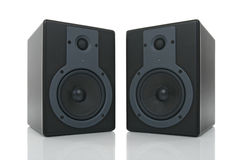 Pair of loud speakers with reflection Royalty Free Stock Images