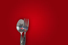 Pair of love. Spoon and fork Stock Photos