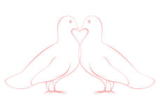 Pair of love doves illustration, valentine card de Stock Photo