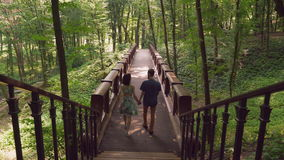 Pair in love walking in the forester. stock footage