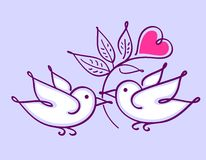 Pair of lovebirds with heart flower Royalty Free Stock Photos