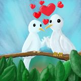 Pair of lovebirds lovers. A pair of lovers of lovebirds sitting in a tree Stock Image