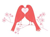 Pair of lovebirds. Valentine's Day. Vector illustration. Isolated on white background Royalty Free Stock Image