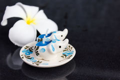 Pair of lovely mini candle painted elephant  pattern Royalty Free Stock Photo