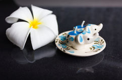 Pair of lovely mini candle painted elephant  pattern Royalty Free Stock Photos