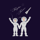 Pair of lovers astronauts Royalty Free Stock Photography