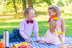 Pair of lovers of children at the picnic on the lawn Royalty Free Stock Image