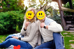 Pair of lovers closed face emoticons Stock Photo