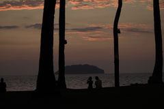 Pair of lovers in the evening. Watching the beauty of nature is so beautiful and lovely royalty free stock image