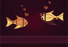 A pair of lovers of fish. Vector illustration of two fish in love and heart Stock Photo