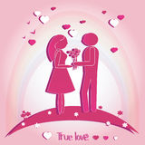 Pair of Lovers with Hearts. Vector illustration on pink background. Silhouette. Royalty Free Stock Photo