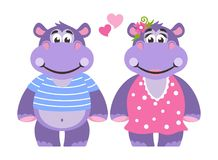 A pair of lovers. A hippopotamus girl in a pink dress with polka dots. Hippo boy in a blue T-shirt with stripes. Hearts. royalty free illustration