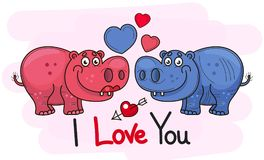 A pair of lovers. A hippopotamus. Girl . Hippo boy in a blue . Hearts. Two cartoon characters on a white background. Vector illustration royalty free illustration