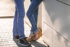A pair of lovers in jeans stock photo