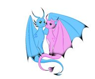 Two magic dragon sit in an embrace. A pair of lovers magic dragons blue and pink one hugged the wing of the second royalty free illustration