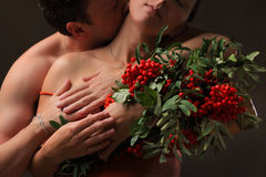 A pair of lovers and mountain ash Stock Photos