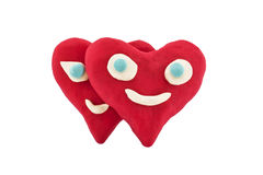 A pair of lovers plasticine hearts Stock Images