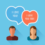 A pair of lovers, speech bubble in the form of hearts Royalty Free Stock Images