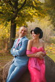 Pair of lovers walking in a colorful forest. Happy couple, they smile sitting on a large stone, shoulder in shoulder.Beautiful women in pink sophisticated dress stock photography