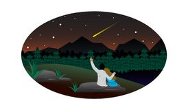 Pair of lovers watching the falling star stock illustration