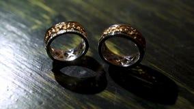 Pair of wedding rings. Pair of luxury wedding rings stock footage
