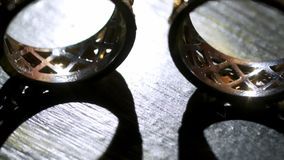 Pair of wedding rings. Pair of luxury wedding rings stock video footage