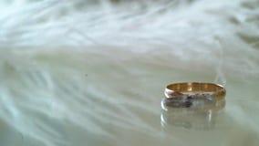 Pair of wedding rings. Pair of luxury wedding rings stock video