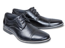 Pair of male black classic lace shoes. Stock Image
