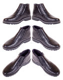 The pair of male black winter shoes Stock Photos