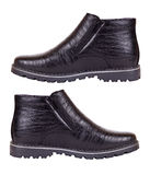 The pair of male black winter shoes Royalty Free Stock Photos