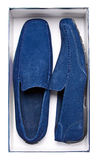 Pair of male blue moccasins in box Royalty Free Stock Photo