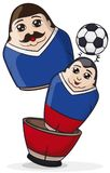 Male Matryoshka Dolls, One inside Another Heading a Soccer Ball, Vector Illustration. A pair of male matryoshka dolls painted like soccer players and wearing Royalty Free Stock Photos
